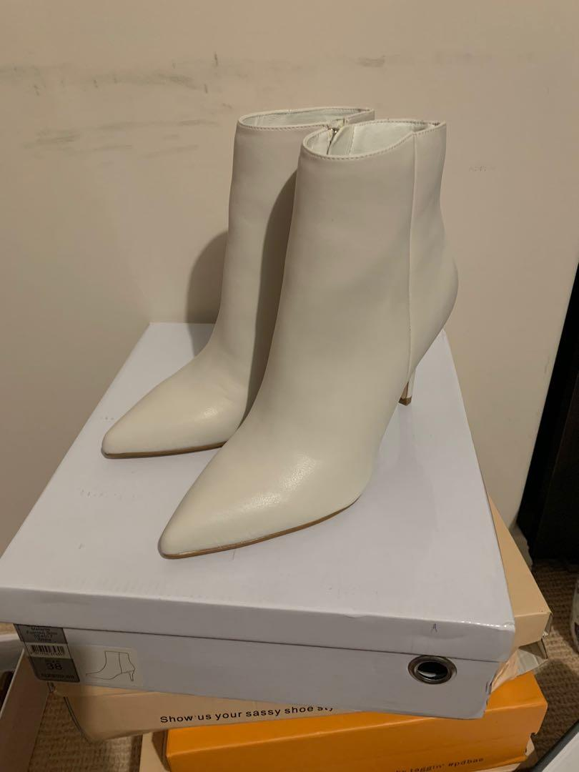 Forever New White Stiletto Boots Size 38