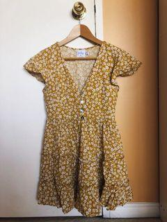 Princess polly foster mini floral mustard yellow sundress summer