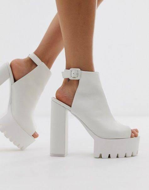 Public desire jada white chunky shoe boots