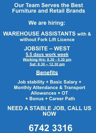 Warehouse assistants required!
