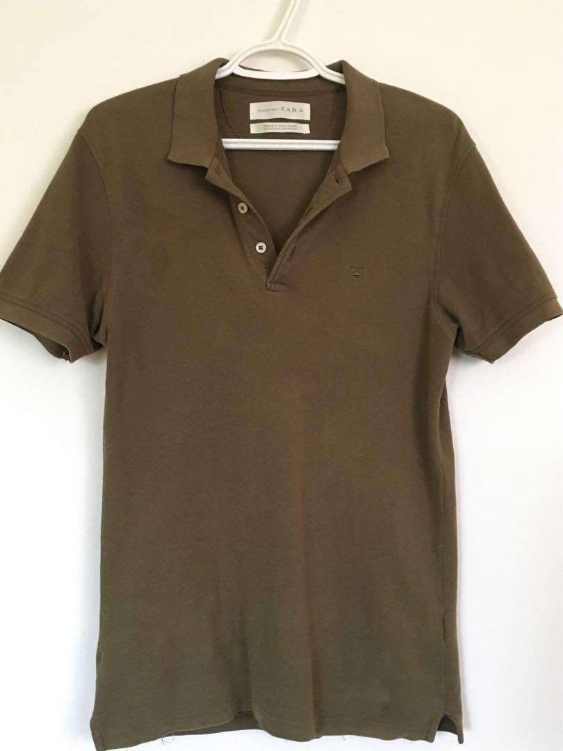 Zara men's olive green polo shirt - small