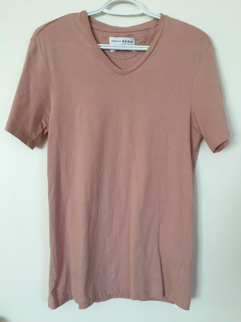 Zara men's pink v-neck t-shirt - small