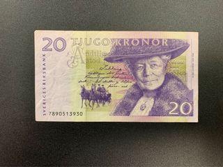 1991年 瑞典中央銀行🇸🇪 20克朗 鈔票