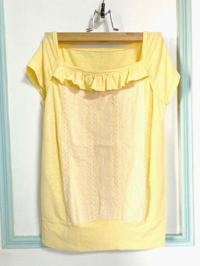 [贈]蕾絲黃上衣
