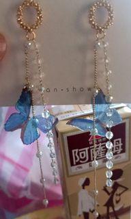 新品 韓式 藍蝴蝶長串 耳環