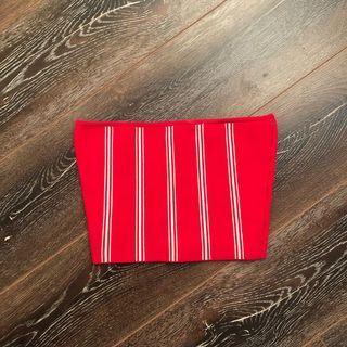 Aritzia Babaton Red and White Tube Top Size XS