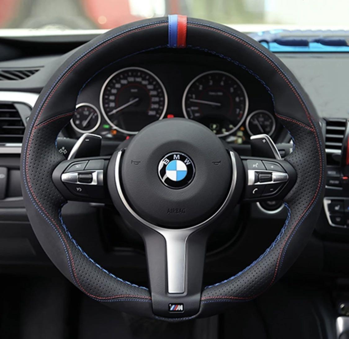 Black Genuine Leather Suede Car Steering Wheel Cover For Bmw M Sport F30 F31 F34 X1 F07 X2 F10 F11 F25 F32 F33 F36 X3 F39 F48 Car Accessories Accessories On Carousell