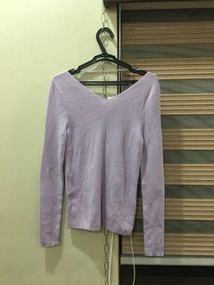 GU Purple Knitted Long Sleeves Top S