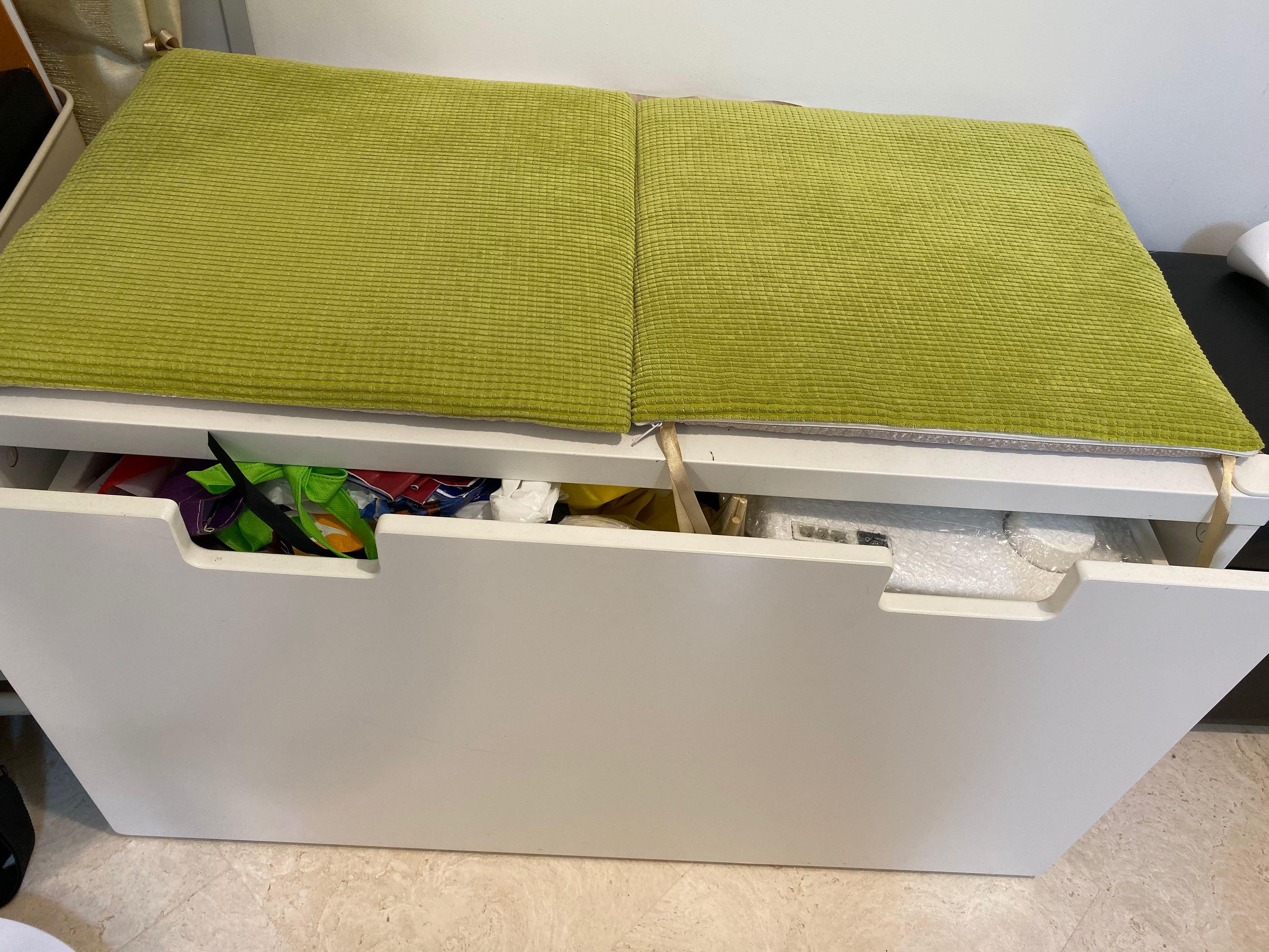 Ikea Toy Storage Bench Without Green Cushions Furniture Shelves Drawers On Carousell