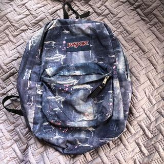 Jansport distressed denim look backpack