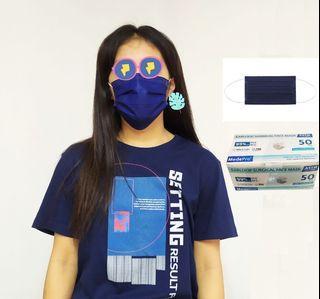 Medepro 深藍色成人口罩現貨,50個/盒