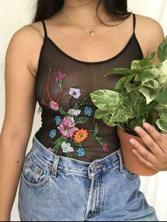 Mesh Embroidered Bodysuit