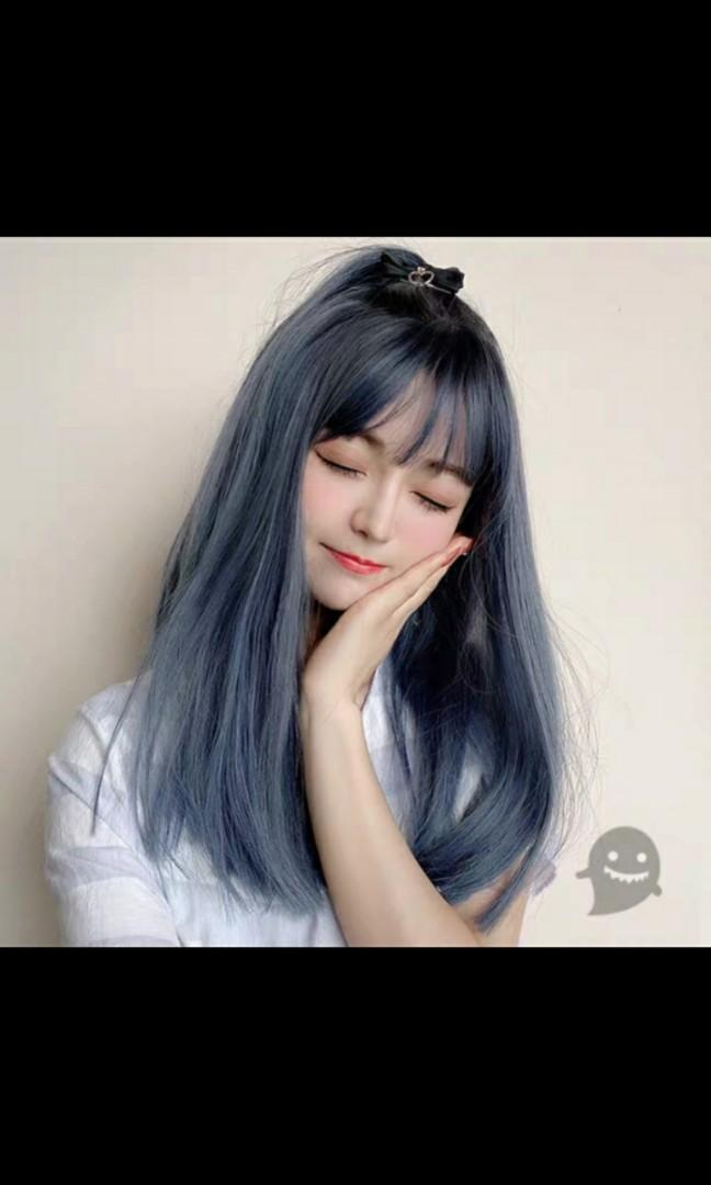 No Instocks Preorder Korean Style Air Bangs Haze Blue Shoulder Length Wig Waiting Time 15 Days After Payment Is Made Chat To Buy To Order Health Beauty Hair Care On Carousell