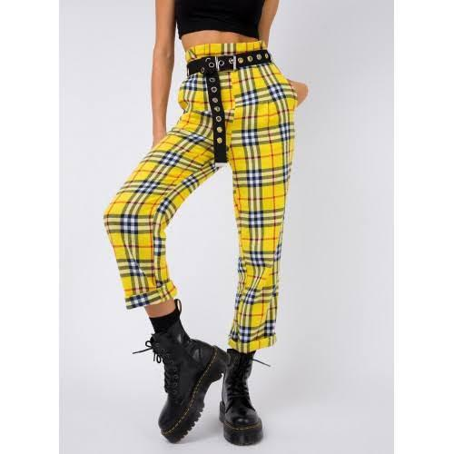 Princess poly plaid pants (can sell the belt in photo too)