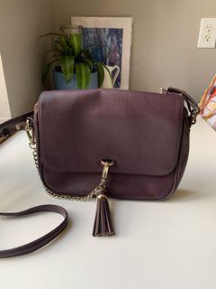 Reiss Leather Crossbody Bag with tassel