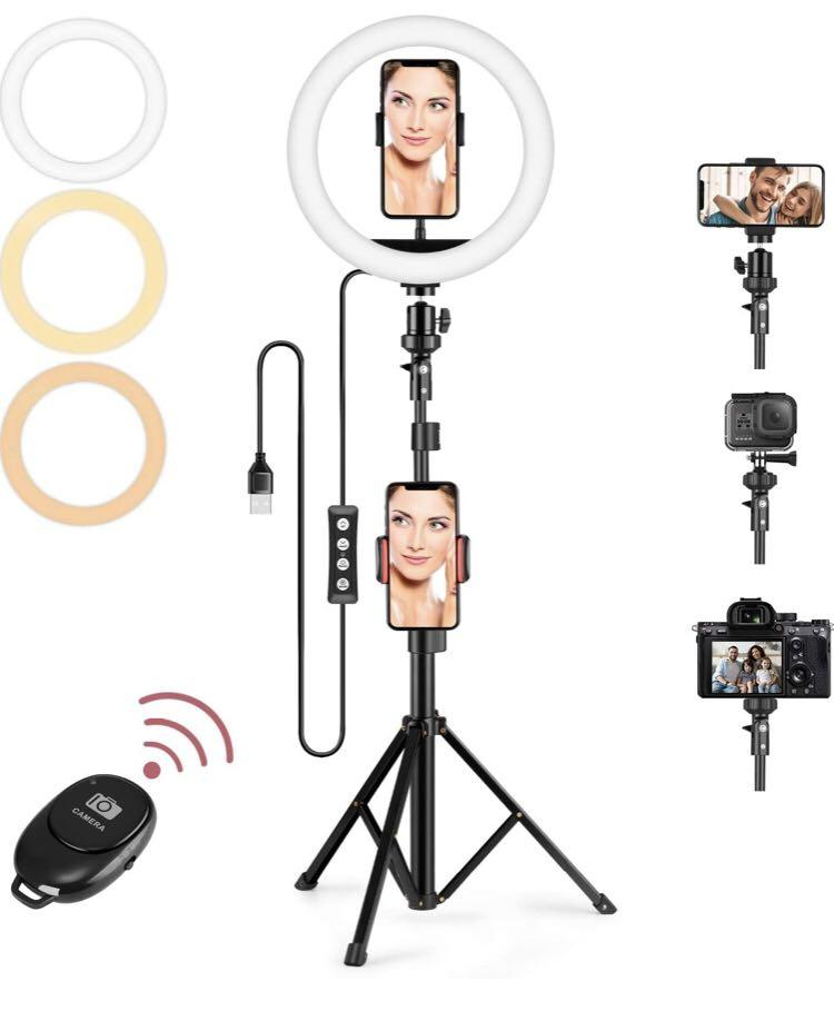 Ring Light + 6 feet tripod +phone holder + wireless clicker