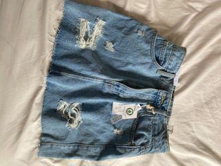 Ripped Jean Skirt - XS