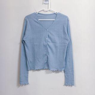 正韓|藍V領緹花薄針織外套|夏天質感穿搭必備