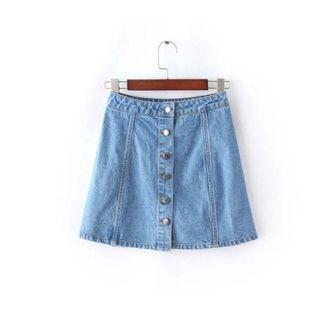 鬆緊鈕扣短裙#1010