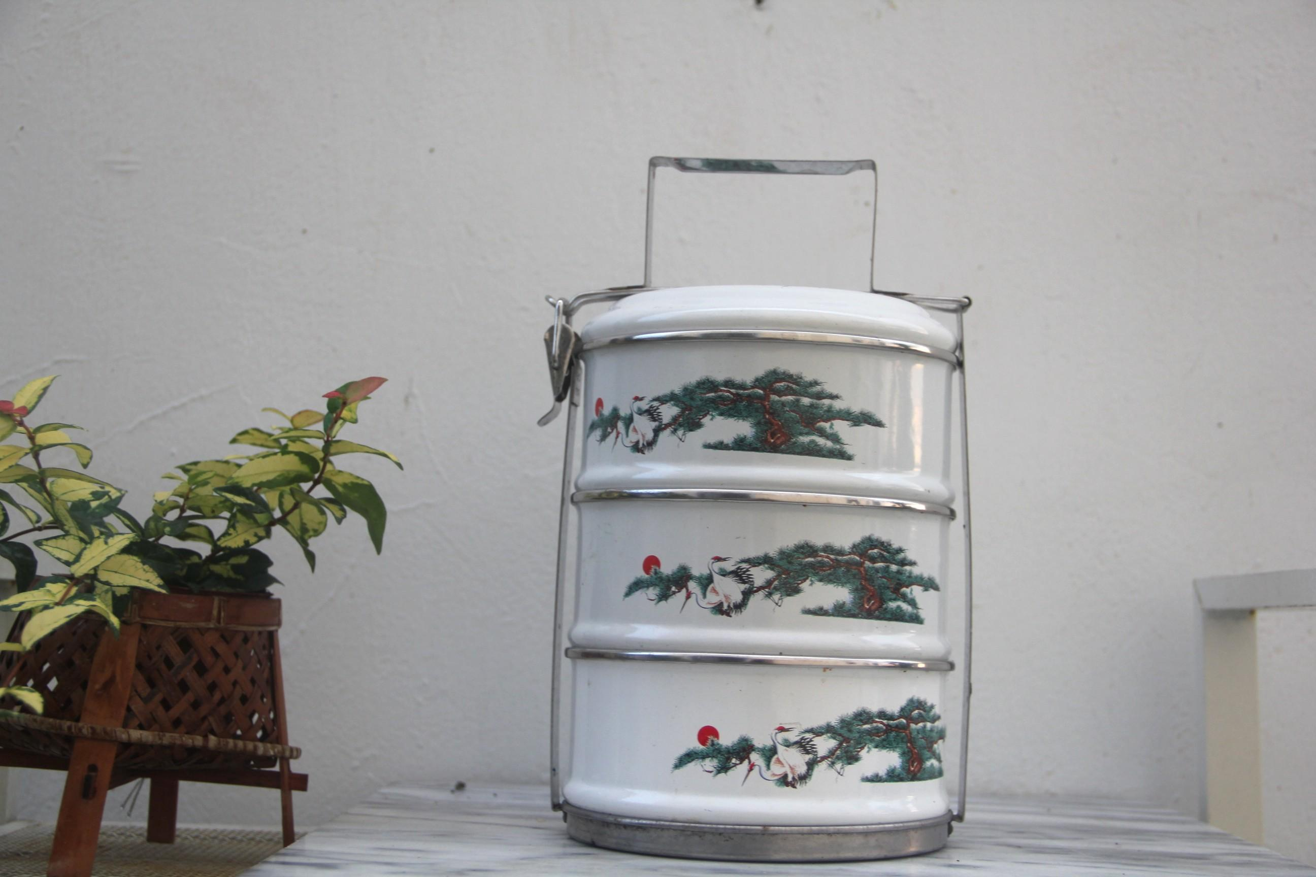 早期古琺瑯松鶴日式三層便當盒