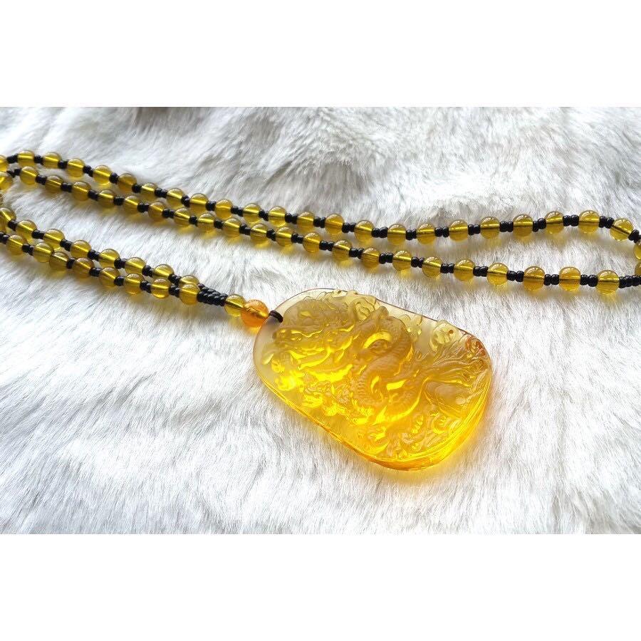 水滴玉精品精雕龍形玉墜+黃珠上鍊.保平安☆.~特價