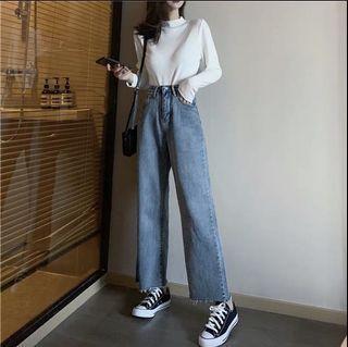 全新早秋淺藍色高腰直筒牛仔寬褲
