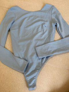 Baby blue open back bodysuit