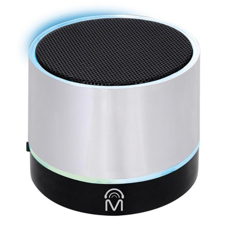 Bluetooth Wireless Mini Speaker with LED Lights (Silver)