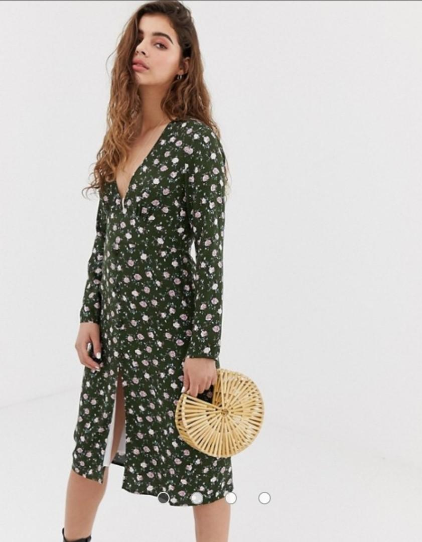 Dark green dress with ditsy pattern