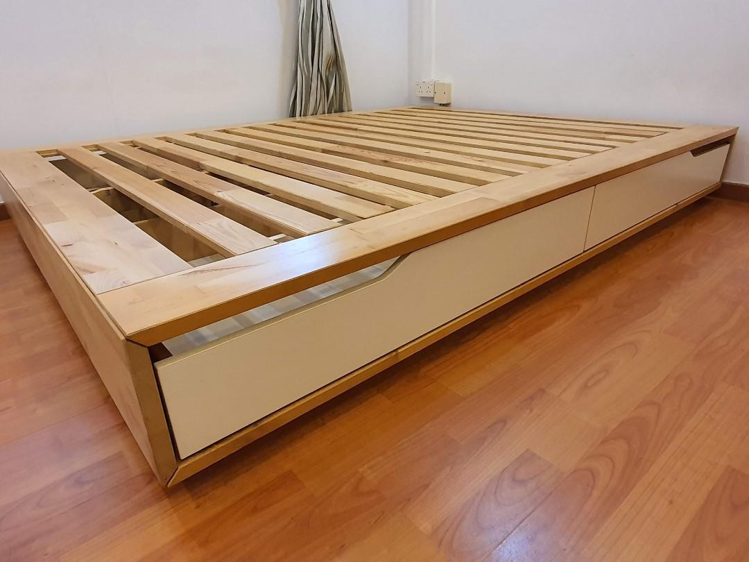 Ikea Bed Wooden Queen Mandal Furniture Beds Mattresses On Carousell