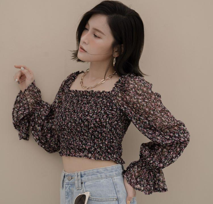 Mellow co French style top Pink/Black