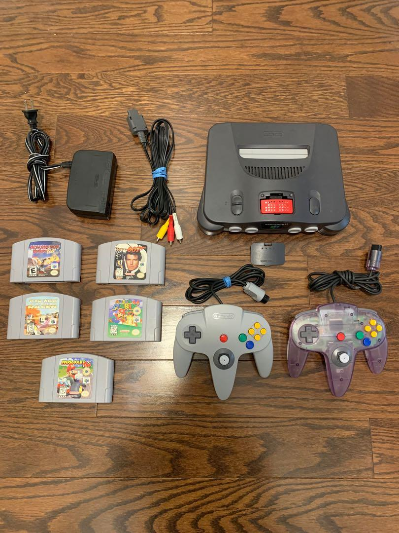 Nintendo 64 console + 5 rare games + 2 controllers + expansion pack RARE LOT!