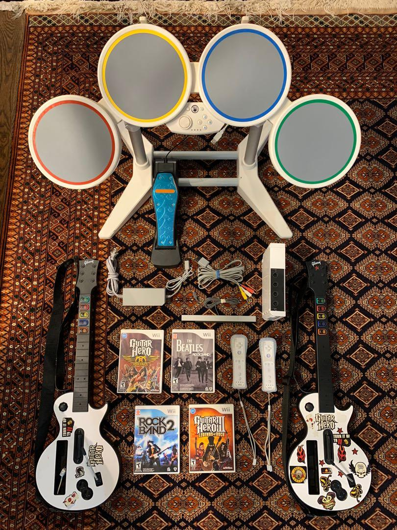 Nintendo Wii console complete guitar hero rock band package deal