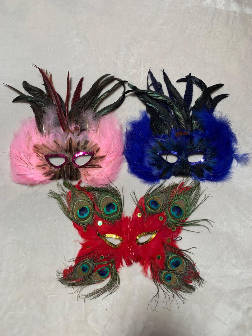 Party mask Halloween real feather imported