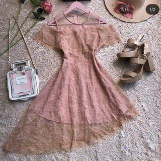 Pink Mesh Lace Dresh