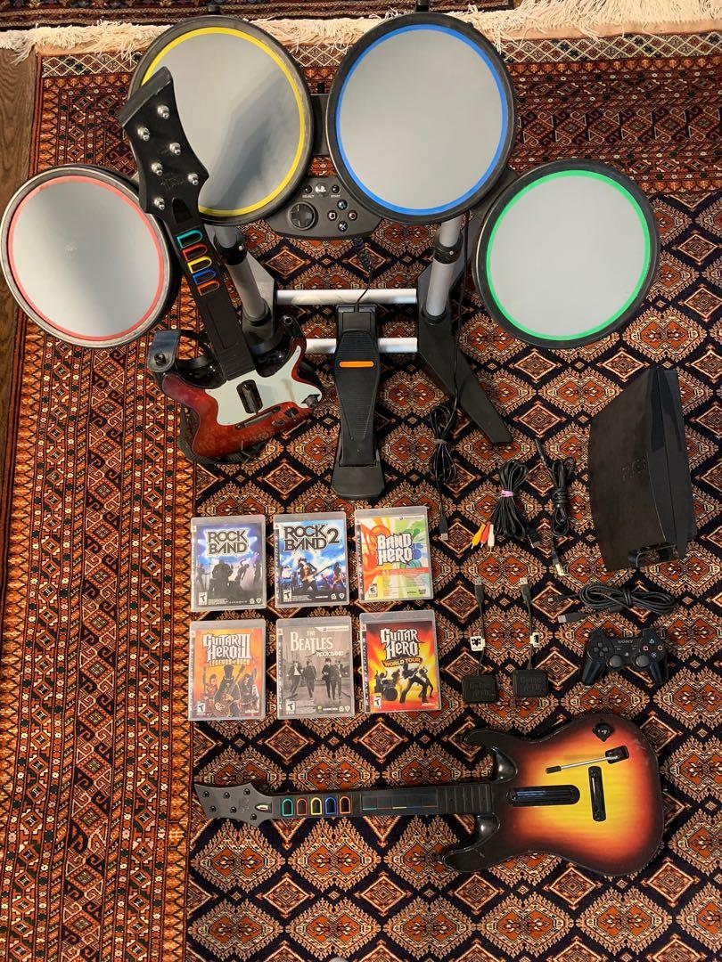 PlayStation 3 console guitar hero rock band complete package deal