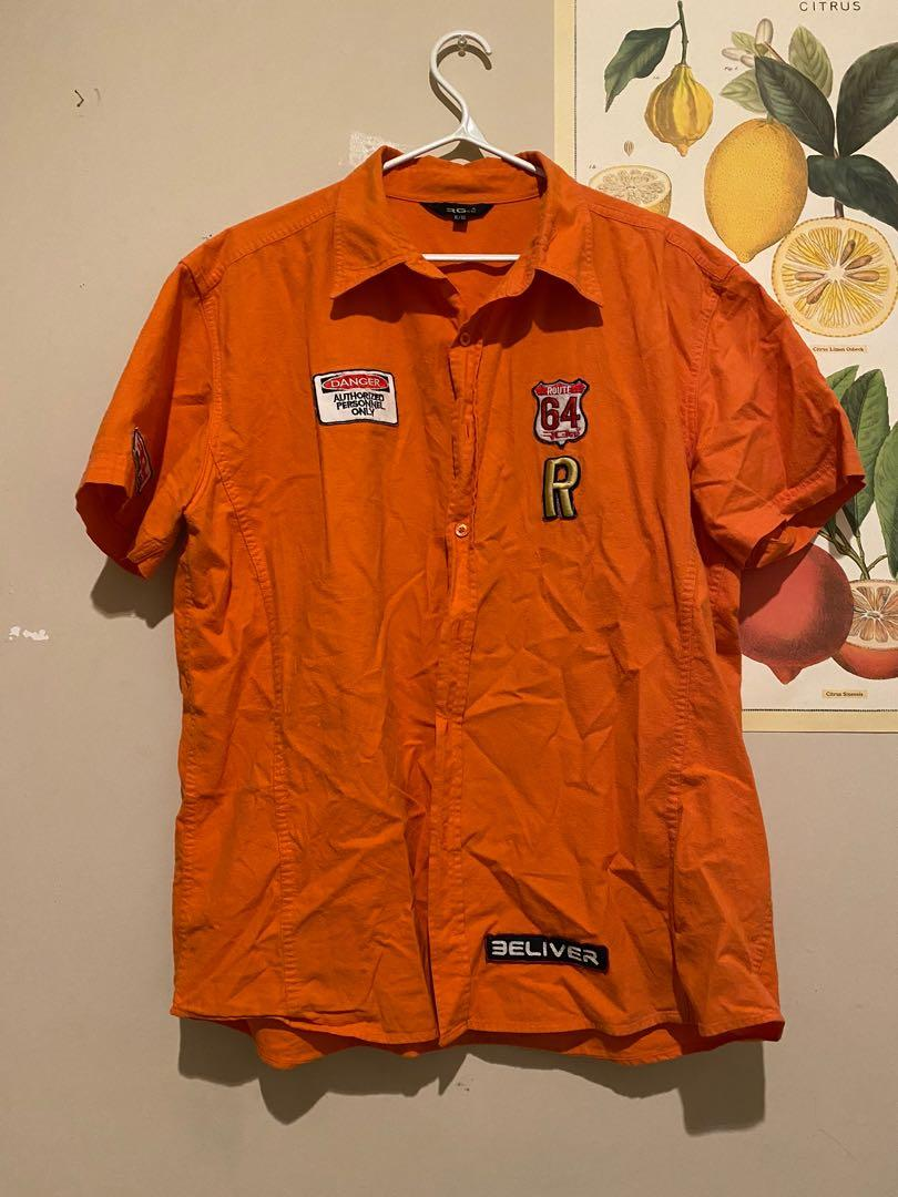 RG Button Up with Patches   Orange   Size XL