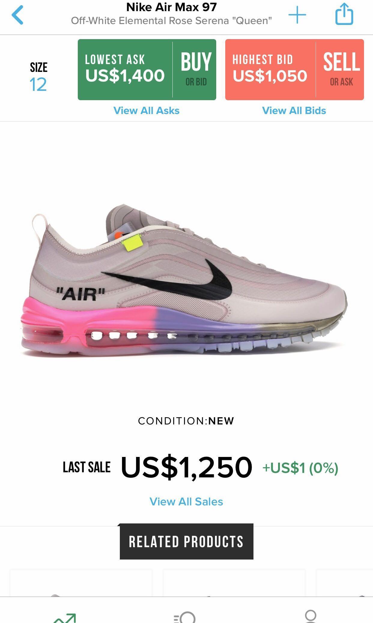dispensa Subtropicale dettagli  Serena Williams X Off White X Nike Air Max 97, Men's Fashion, Footwear,  Sneakers on Carousell