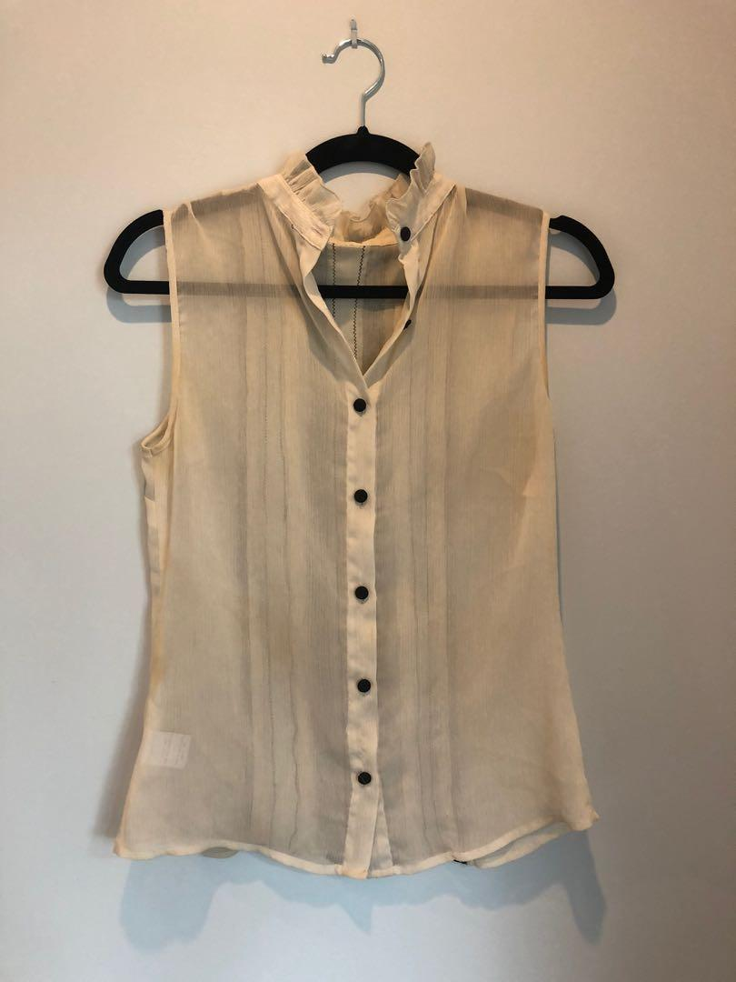 Sheer blouse with Victorian lace back
