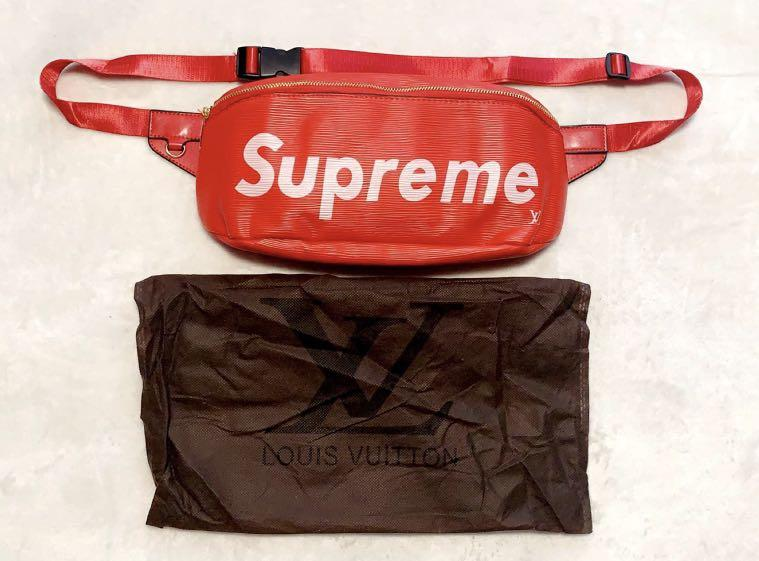 Supreme x Louis Vuitton red leather cowhide chest bag