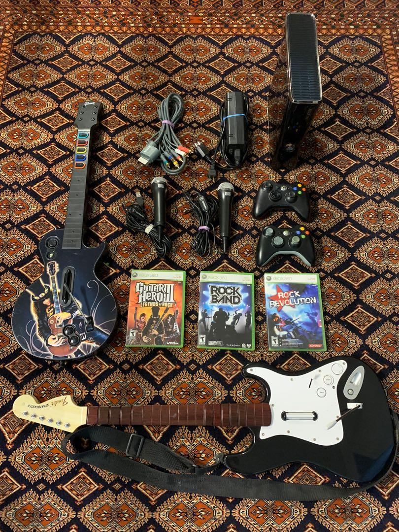 Xbox 360 console complete guitar hero rock band bundle *Rare hard to find*