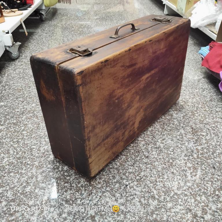 早期木箱-少一個扣-阿嬤嫁妝 化妝箱 手提老木箱18*35*59