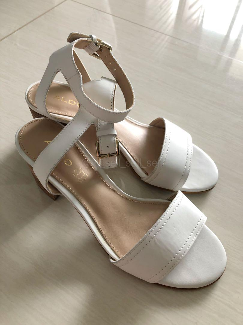 ALDO White Leather Doreclya Ankle Strap