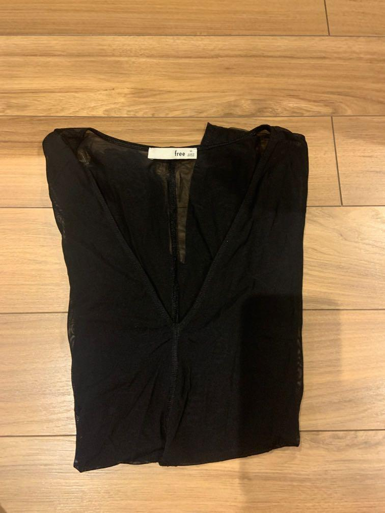Aritzia Long Sleeve Mesh Bodysuit