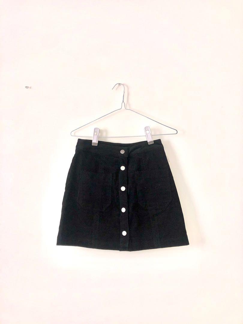 Black Corduroy Skirt