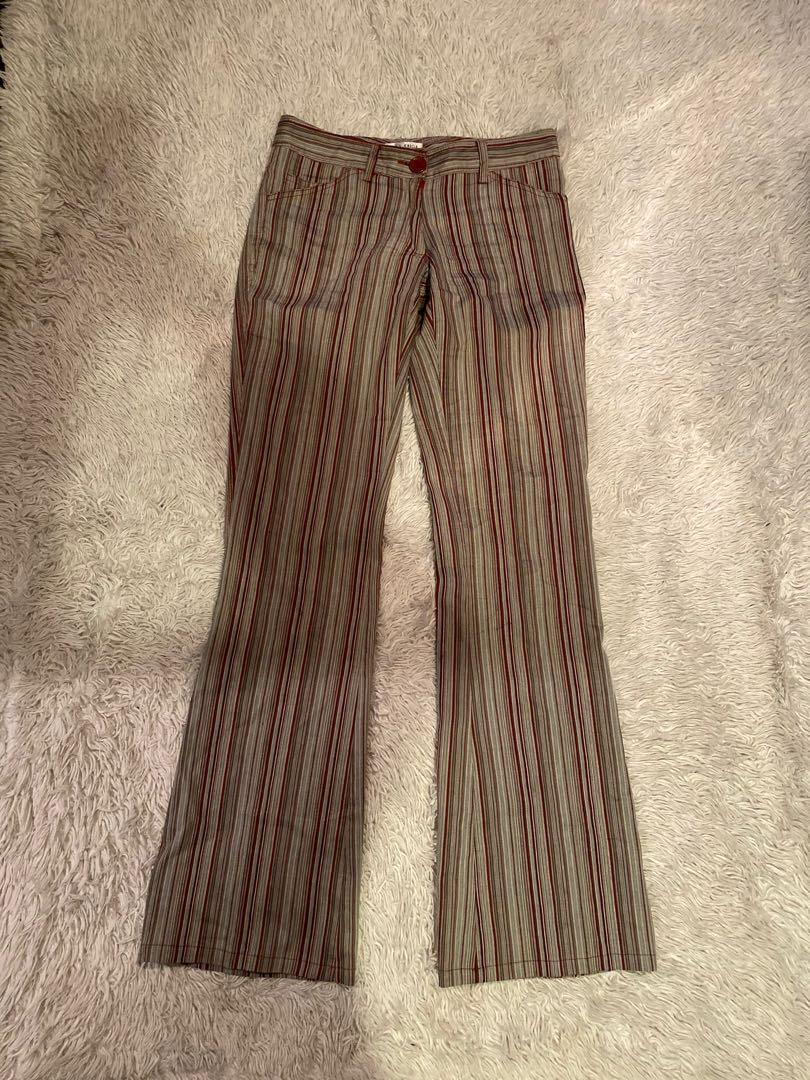 Della Spiga Low Rise Wide Leg Pants | Striped | Size 2