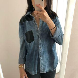 Denim and leather button up