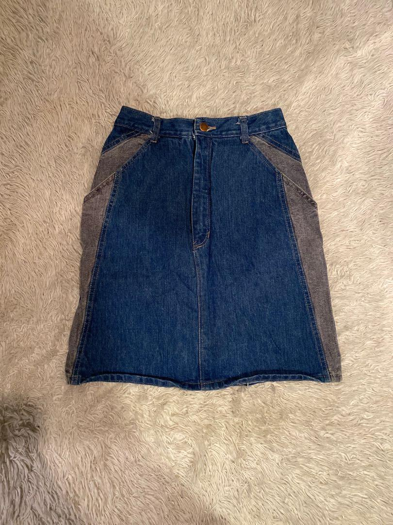 Denim Skirt | Blue and Grey Accents | Size 7