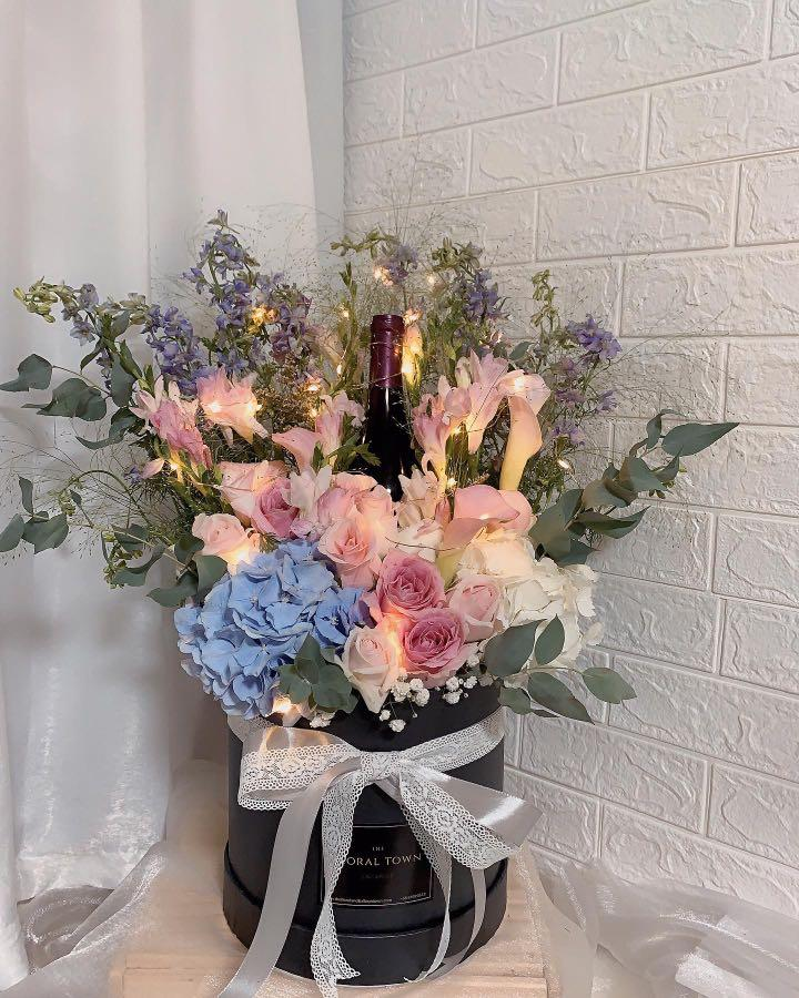 Floral Box Arrangements With Wine Led Lights Included Gardening Flowers Bouquets On Carousell