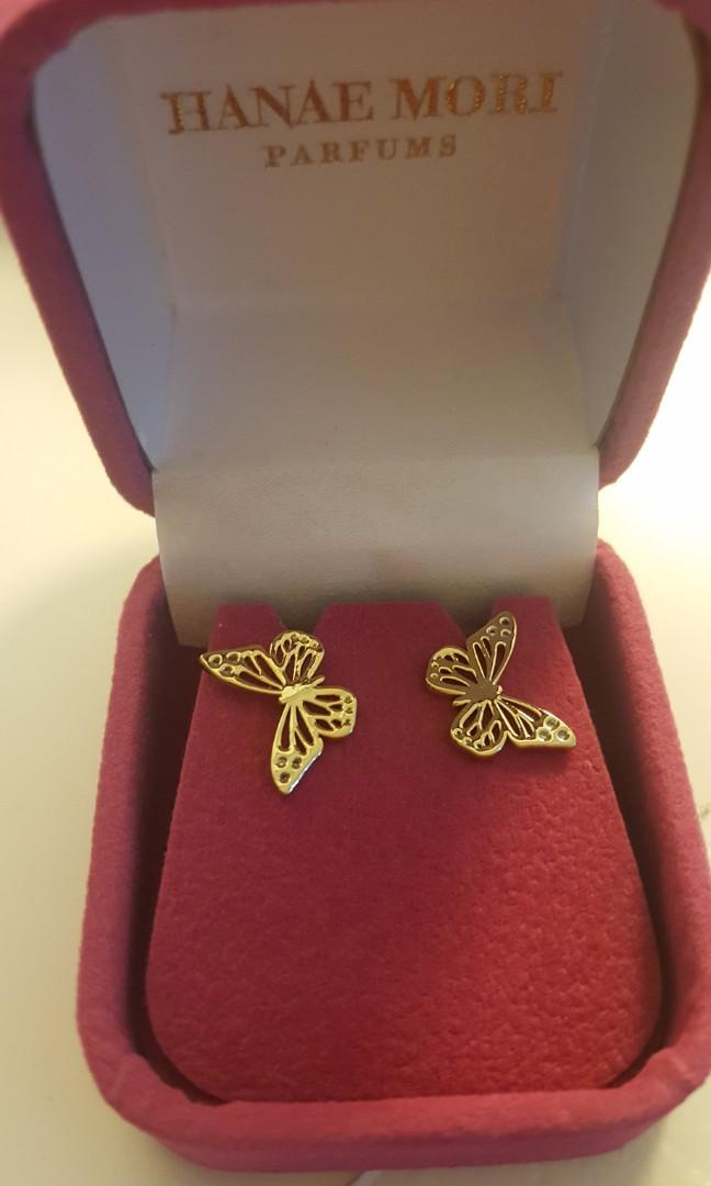 Hanae Mori Gold Studs Butterfly Earrings NEW